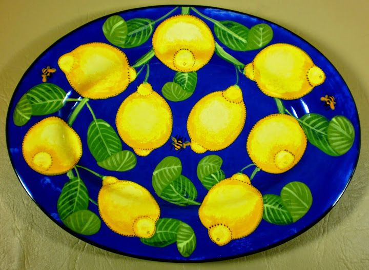 Lemon oval platter an old pattern painted by artist Geoff Graham of Cinnabar Ceramics in Vallejo, California.