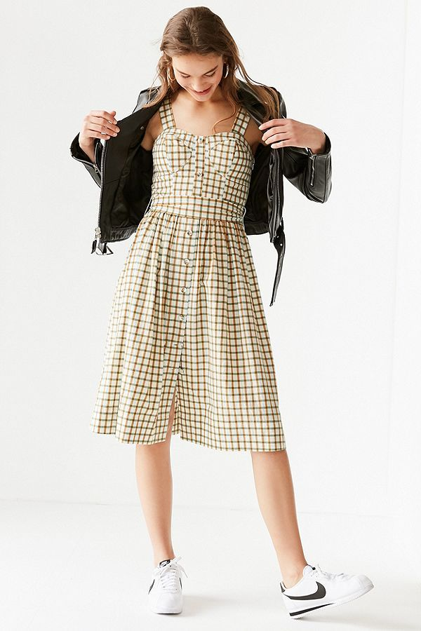 cb23278110f J.O.A. Button-Down Plaid Midi Dress