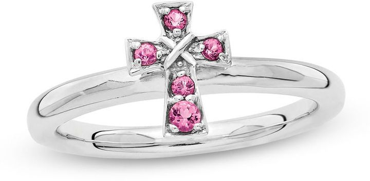 Zales Stackable Expressions Pink Tourmaline Cross Ring in Sterling Silver lSxMN4cpAQ
