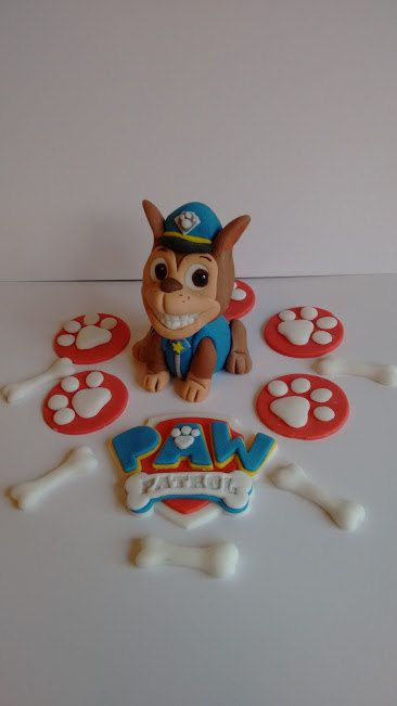Paw patrol cake topper set, Chase,badge, 5 paws and 5 bones by caketoppersbymaris on Etsy
