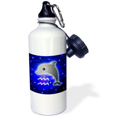 3dRose Cute Astrology Aquarius Zodiac Sign Dolphin, Sports Water Bottle, 21oz