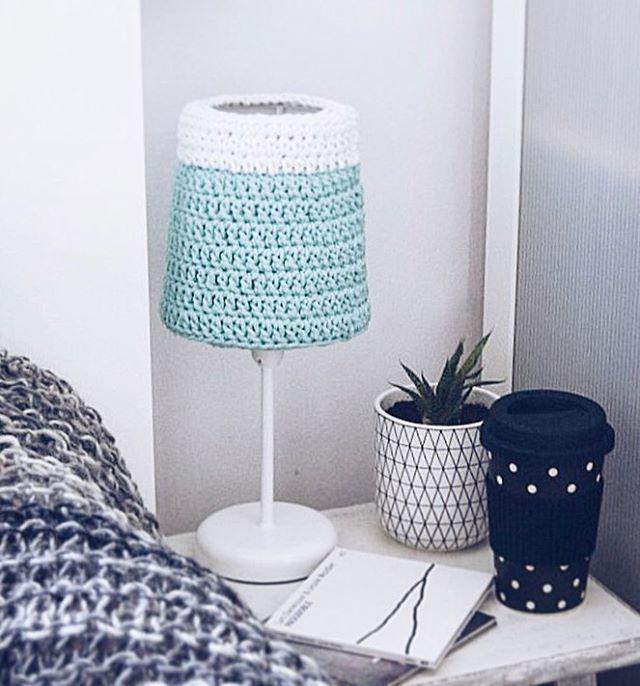 Crochet lampshade by Dwa Guziki - Miętowy abażur by Dwa  Guziki