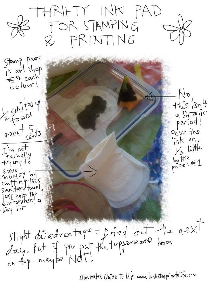 A nifty thrifty use of sanitary towel as homemade ink stamp pad. Printing stamping painting art www.illustratedguidetolife.com