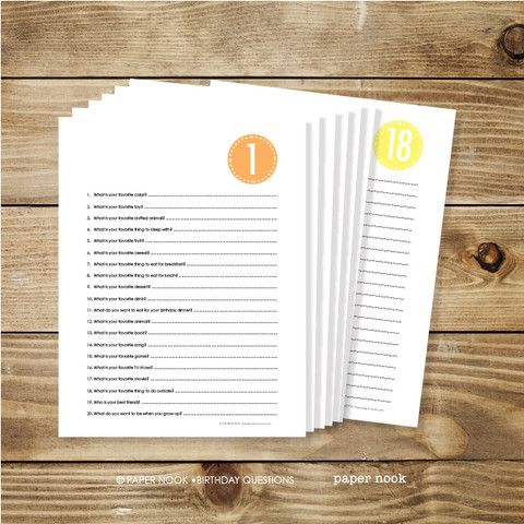 Free Printable! Ask the same 20 questions year after year and see how your child's responses change.