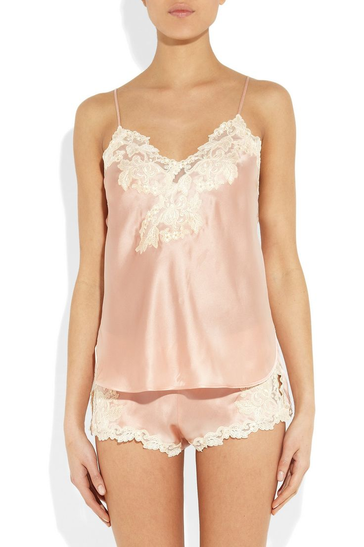 La Perla|Maison lace-trimmed silk-blend satin camisoleand tap pants