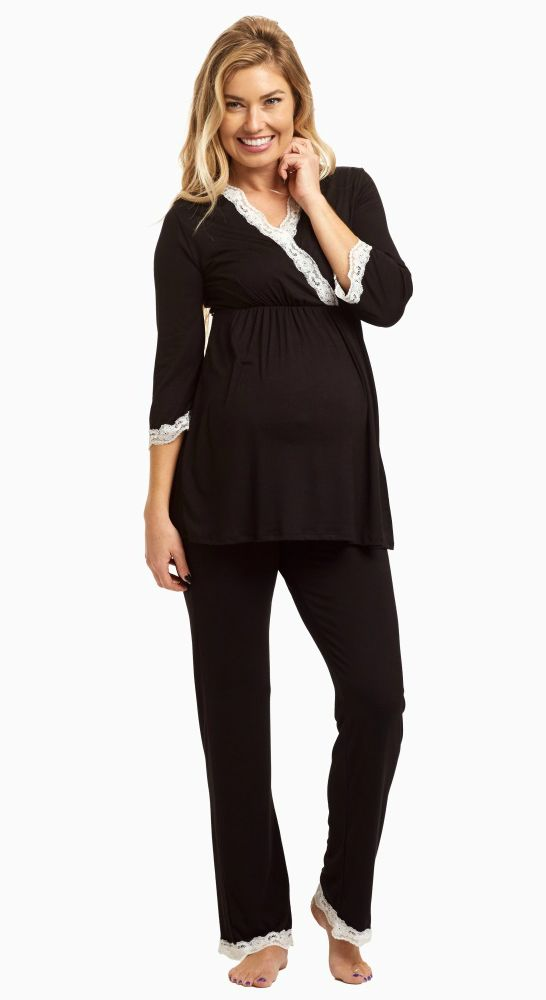 Sleep soundly knowing that you are wearing a maternity pajama top designed for the most comfortable fit in an incredibly soft material specially for you and your growing bump. Even after giving birth, a draped v-neckline is convenient for nursing.