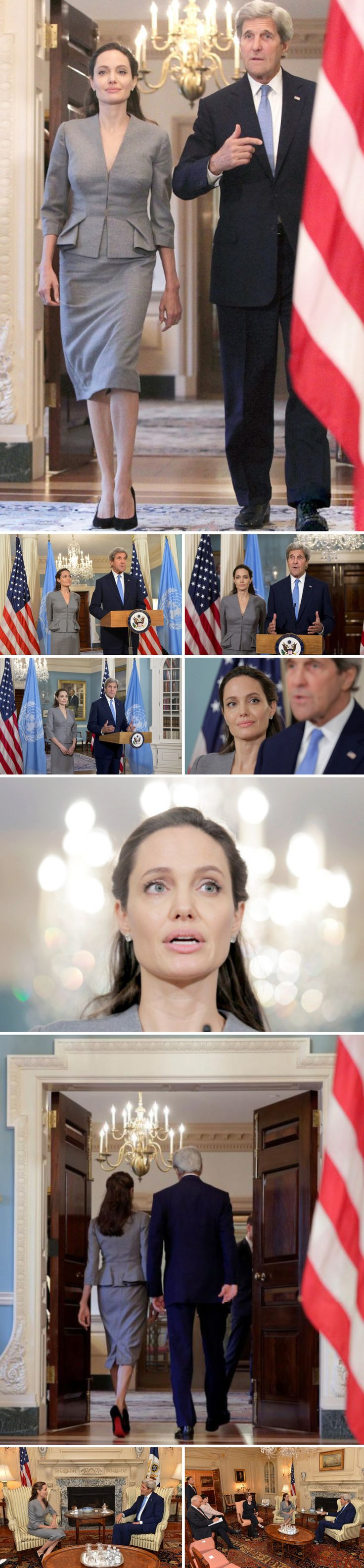 U.S Secretary of State John Kerry and UNHCR Special Envoy Angelina Jolie Pitt at the U.S. Department of State on June 20 to mark World Refugee Day 2016.