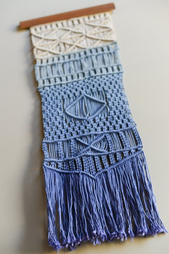 VIntage Macrame Ombre Wall Hanging by  chickenwire13