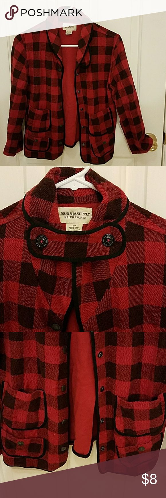 Ralph Lauren denim and supply jacket Cute red and black checked jacket. 100% cotton Ralph lauren denim and supply Jackets & Coats
