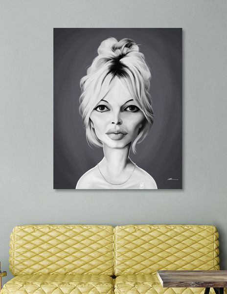 Discover «Brigette Bardot», Numbered Edition Canvas Print by rob art | illustration -art | decor | wall art | inspiration | caricature | home decor | idea | humor | gifts