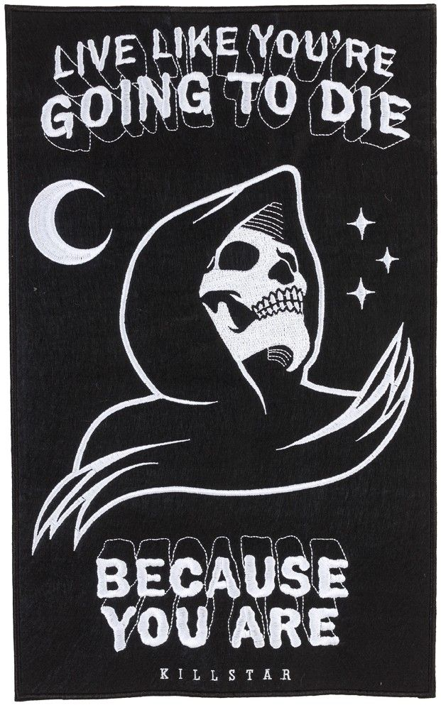 "KILLSTAR CERTAIN DEATH BACK PATCH - Live like you are going to die! This reaper patch is large and perfect to sew on the back of your favorite denim jacket. The black felt has been embroidered with a reaper and words to live by ""Live like you are going to die"" and ""Because you are"""