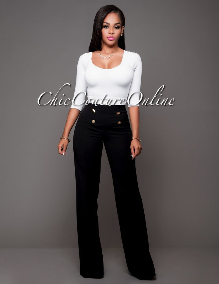 Chic Couture Online - Canalie Black Gold Buttons Palazzo Pants.(http://www.chiccoutureonline.com/canalie-black-gold-buttons-palazzo-pants/)