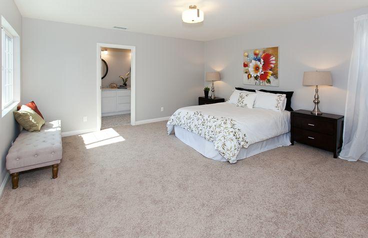 Contemporary Master Bedroom Gray Wall Beige Carpet