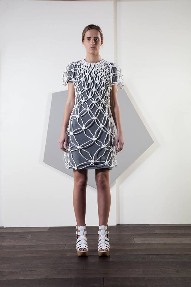 Toilet roll macramé dress and grey jersey under-dress for sale on eBay http://www.ebay.co.uk/itm/Beautiful-white-paper-dress-size-8-10-hand-crafted-macrame-INCLUDES-GREY-DRESS-/121386177300?hash=item1c432e1314