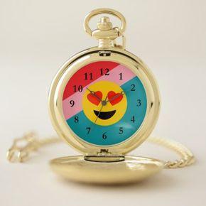 Love Emoji Striped Gold Pocket Watch - girlfriend love couple gift idea unique cool