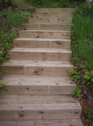 Outdoor Wooden Steps . . . Use Trax Or Other Manufactured Decking Insstead  Of Treated Wood