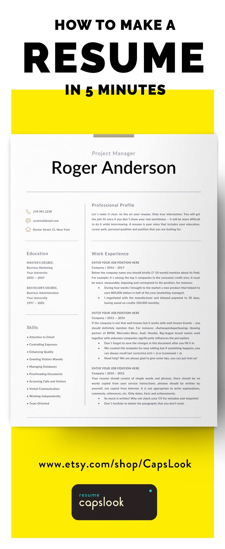 Best Modern Resume Templates Download On Etsy  Images On