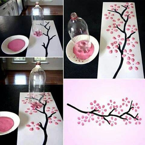 use a recycled bottle to make flowers on the tree.