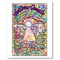 Spring Hearts Cancer Angel Print