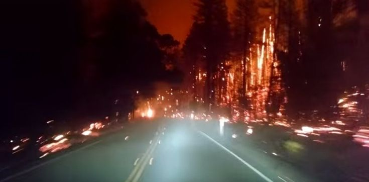 California Valley fire: Driving through a burning town. A driver recorded harrowing video while driving to escape the Valley Fire.