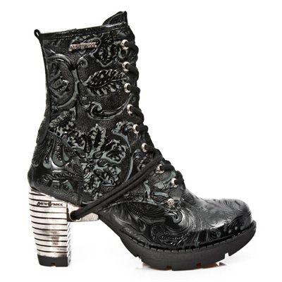 M.TR001-S24 Gothic Metal dames laars met vintage bloemen print, schoenveters en rits zwart