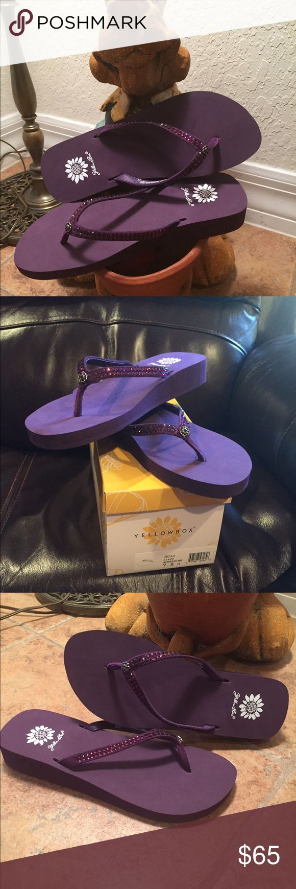 Yellow Box Flip Flops NWT Gorgeous aubergine color. Style is jello. Brand new. If you know yellowbox you know these are the most comfortable flip flops ever! Yellow Box Shoes Sandals