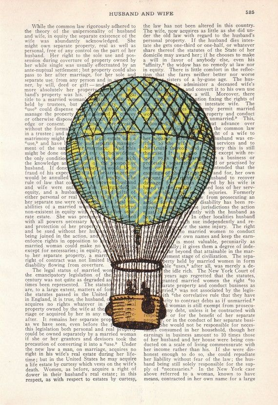 Classic Hot air balloon in turquise and yellow Book by PRRINT