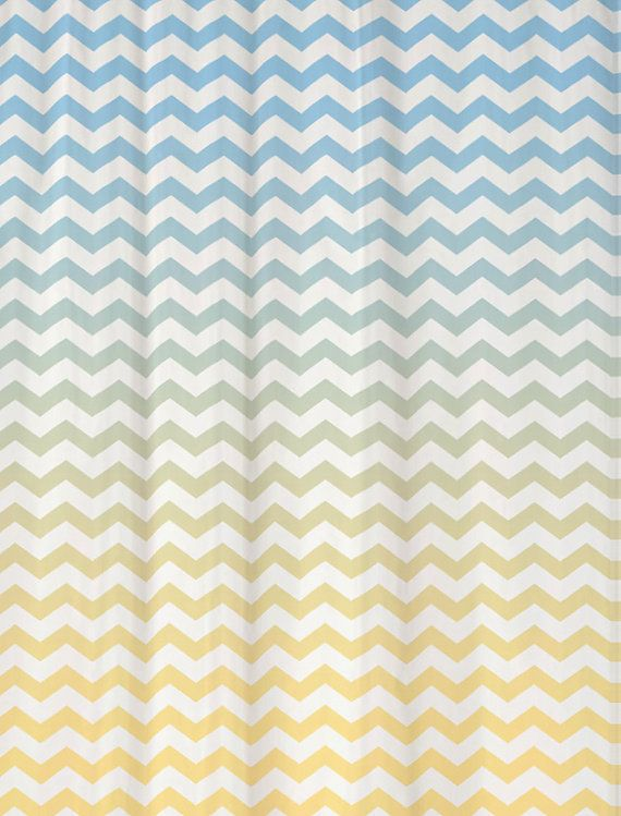 Shower Curtain in Ombre Chevron Standard and Extra Long Lengths 70, 78, 84, or 90 Inches Shown in Cool Blue and Pale Banana Yellow