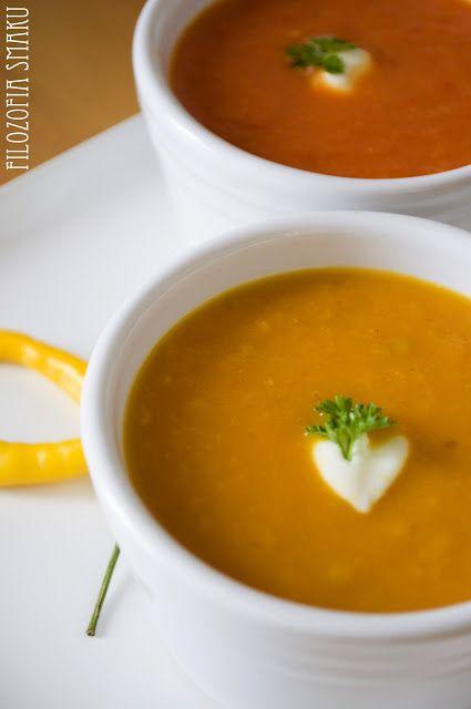 Meksykańska zupa z opiekanych pomidorów i papryki | Filozofia Smaku