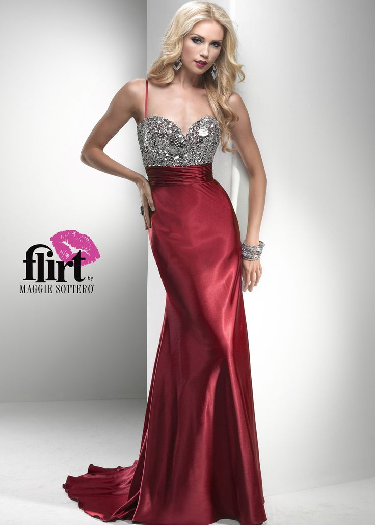 Find Flirt By Maggie Sottero P2777 Red Satin Evening Gown