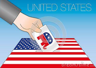 Vector file, illustration ballot box with republican symbol