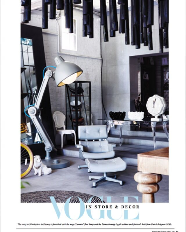 We are proud to see the 225 cm tall desk lamp Lummel, the two sides clock and 1956 chair in Vogue magazine.  Thanks to Mondopiero Australia