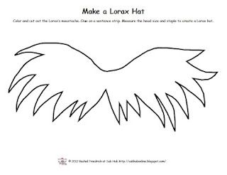 FREE Pattern to make a Lorax moustache hat. www.subhubonline.blogspot.com