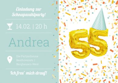 Die Schnapszahl feiern! Witzig-fröhliche Einladungskarte zum 55. Geburtstag mit Konfetti und goldenen Folienluftballons #einladunggeburtstag.de