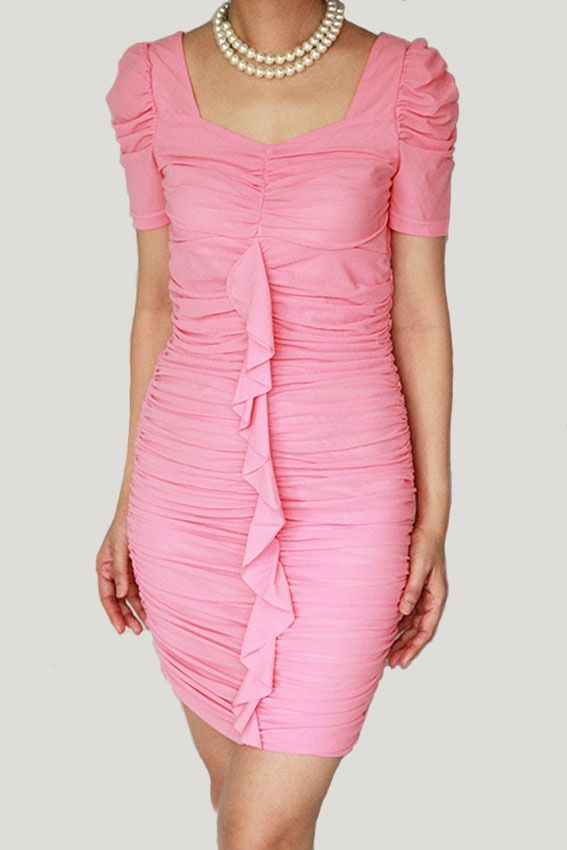 sweetest pink short dress www.ladyseoulshop.com