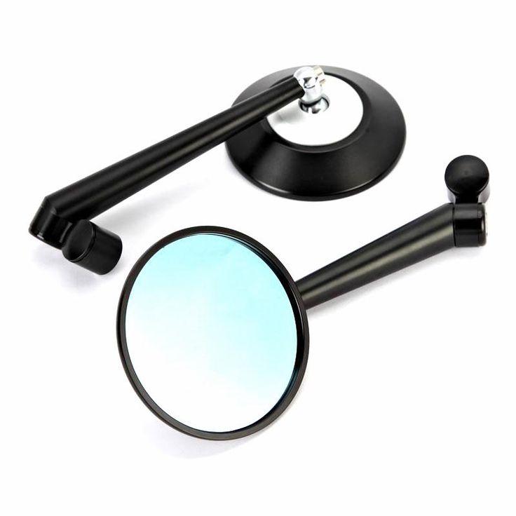 Пара Дым Синий ЧПУ Алюминиевый Матовый Черный цвет Мотоцикла Зеркала Заднего Вида Для Мотоциклов Street Велосипеды Чопперы 8 мм 10 мм