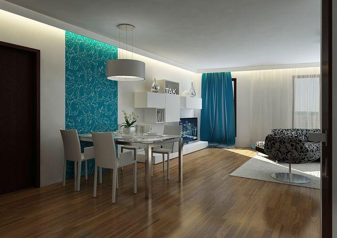 Modro-bílý obývací pokoj | AŤÁK DESIGN