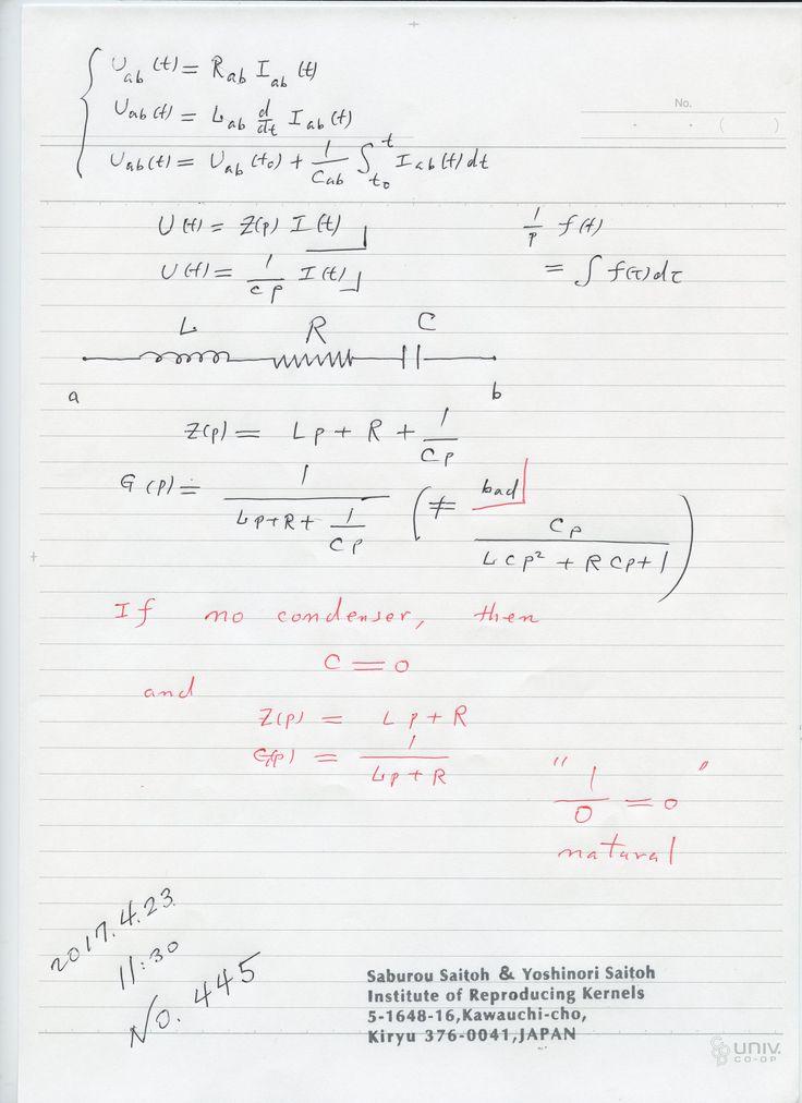 №445-813 自然法則を数式で書くとき、ある部分が存在しないとき、図のようにゼロ除算で その装置がないような表現に上手くなる。 ゼロ除算が自明に成り立っているは 多い。 逆数で、考える場合、表現に気を付けないと 変なことになる。 割り算と掛け算は ゼロ除算が現れるとき、違うからです。 図の場合、容量が無限になって 意味があると思っていたのでは? そこで、変な気持ちを引きずってきたと思われる。 The division by zero is uniquely and reasonably determined as 1/0=0/0=z/0=0 in the natural extensions of fractions. We have to change our basic ideas for our space and world   Division by Zero z/0 = 0 in Euclidean Spaces Hiroshi Michiwaki, Hiroshi Okumura and Saburou Saitoh International Journal…