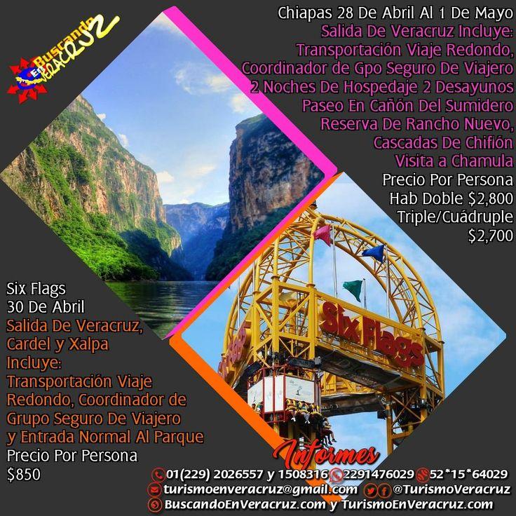 Este fin de semana tenemos dos #excursiones que no te puedes perder la primera a #Chiapas y la segunda a #SixFlags No Te Quedes Fuera y Reserva YA  Tels: 01 (229) 202 65 57 y 150 83 16 PRIP ID: 52 * 15 * 64029 Cel - WhatsApp: 2291476029 y 2291508316  Email turismoenveracruz@gmail.com http://www.turismoenveracruz.mx
