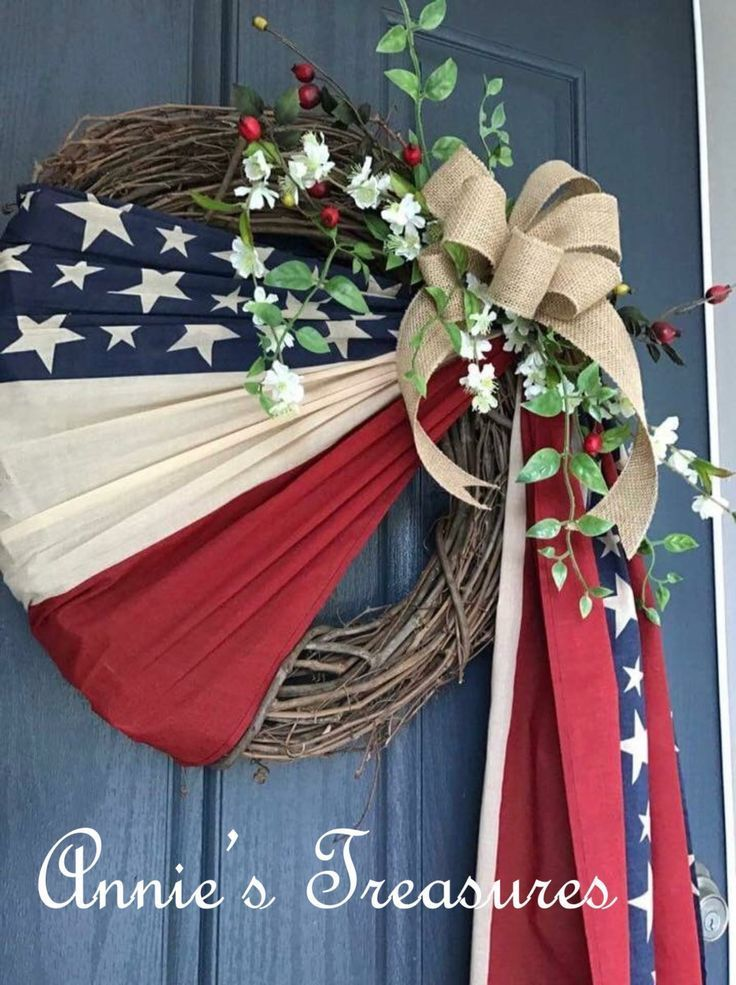 Simple wreath in honor of Old Glory Patriotic Flag…