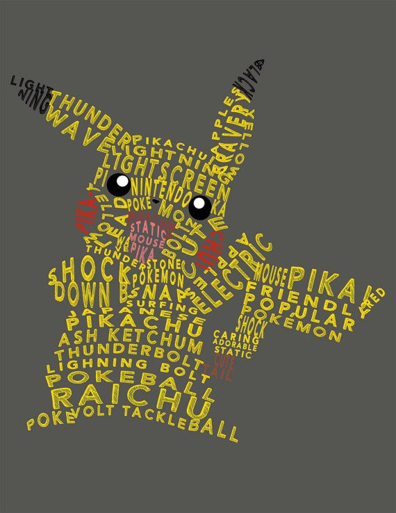 This digital print is a typography based upon the popular Pokemon, Pikachu. The print would make a perfect addition to the bedroom decor of any Pokemon loving child! This digital file is 8x10 and will be instantly downloadable to you after your purchase. With a digital file, you are able to print the image on your own! THEREFORE YOU WILL BE BUYING DIGITAL GOODS ONLY AND WILL NOT RECEIVE ANYTHING IN THE MAIL. Also let me know if there is a different size you would like and I will create a…