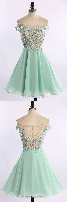 Off the Shoulder Prom Dresses, Open Back Formal Dresses, Chiffon Evening Dresses, Aline Homecoming Dresses, Green Graduation Dresses
