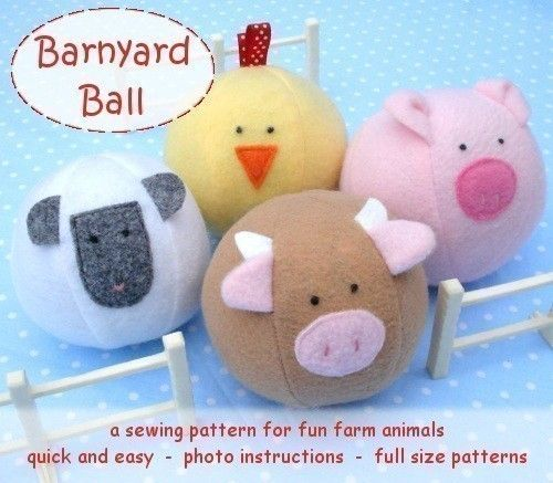 Barnyard Ball - PDF sewing pattern - free shipping. $7.50, via Etsy. (so cute i bet i could use that free ball pattern from another pin for this)