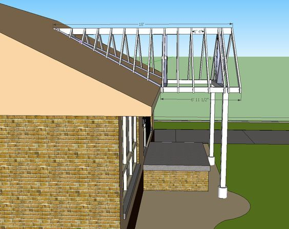 open gable patio cover design | Building a Gable end porch cover. Tying into existing roof: