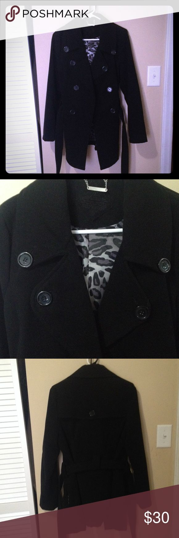 Black pea coat Black Pea Coat in great condition. Super cute cheetah print on the inside. Maybe was worn twice but overall it is in excellent condition!! Make me an offer!! Jou Jou Jackets & Coats Pea Coats