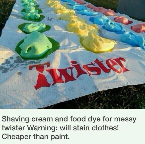 lets do it!!! or we could put shaving cream in baloons then add food coloring and a little water then tiethe baloons and have a fight with them