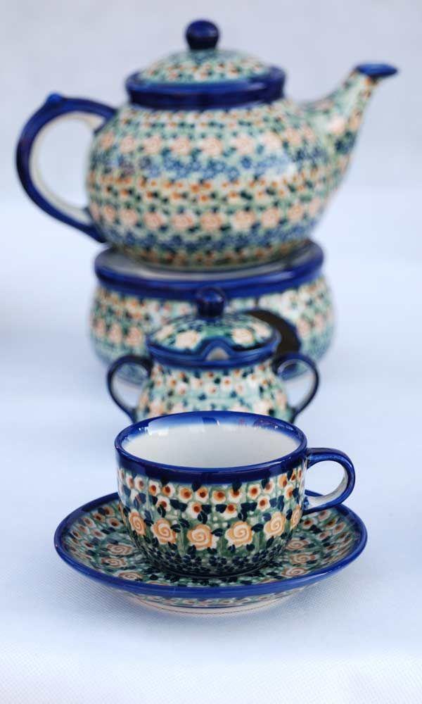 polish pottery tea service you can buy on www.tujestmojemiejsce.pl