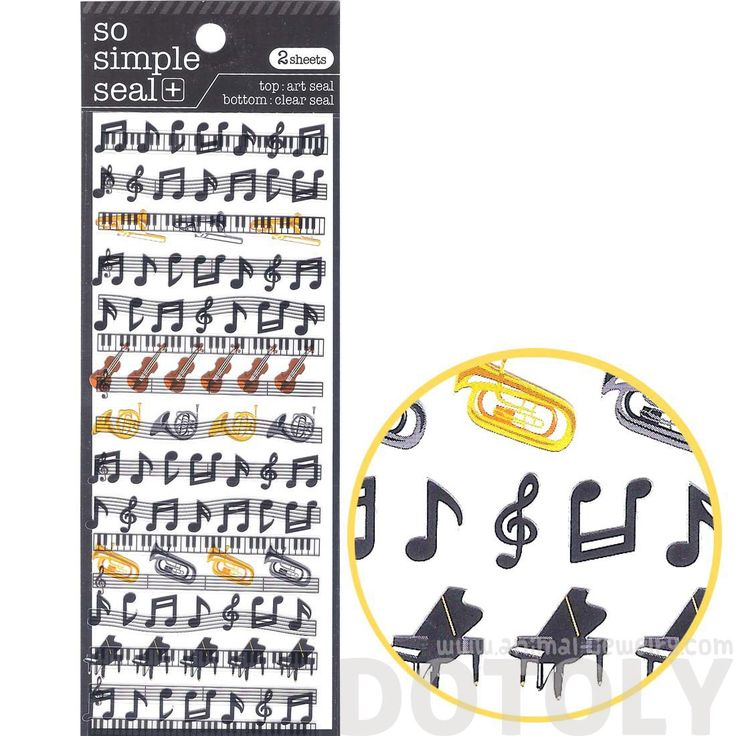 Musical Scores Notes and Instruments Music Themed Stickers for Scrapbooking and Decorating | 2 Sheets