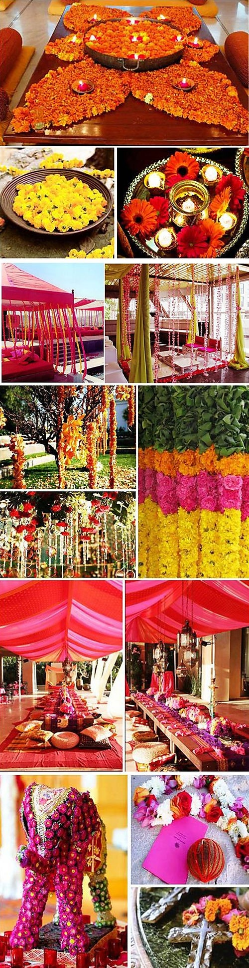 A collage of flower-and-drape decoration ideas for a bright #Indian Wedding