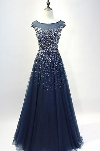 Dark blue tulle sequins round neck full-length prom dresses, A-line evening dresses with straps